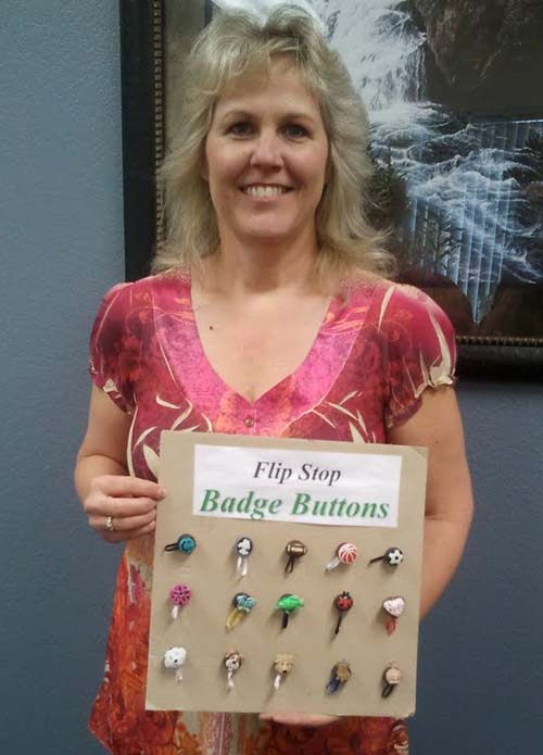 Flip Stop Badge Buttons